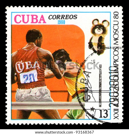 CUBA - CIRCA 1980: A stamp printed in CUBA, devoted to Olympic Games in Moscow (1980) and shows Boxing, two boxers in ring, circa 1980