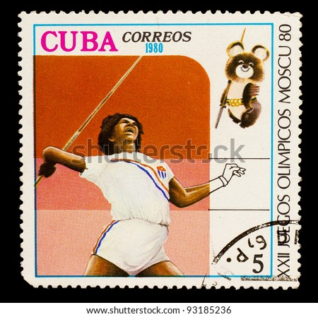 CUBA - CIRCA 1980: A stamp printed in CUBA, devoted to Olympic Games in Moscow (1980), javelin throwing, girl with dark skin throws a spear, circa 1980