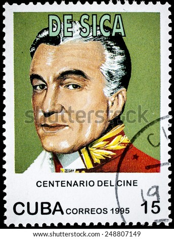"CUBA - CIRCA 1995: A stamp printed in Cuba from the ""Centenary of Motion Pictures. Designs showing film stars"" issue shows Vittorio De Sica, circa 1995. - stock photo"