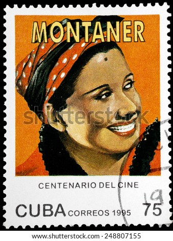 "CUBA - CIRCA 1995: A stamp printed in Cuba from the ""Centenary of Motion Pictures. Designs showing film stars"" issue shows Rita Montaner, circa 1995. - stock photo"