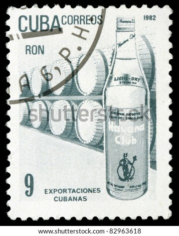 CUBA - CIRCA 1982: A stamp printed in Cuba honored Traditional Cuban exports shows rum, circa 1982 - stock photo