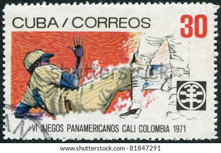 CUBA - CIRCA 1971: A stamp printed in Cuba, is dedicated to Pan American Games in Colombia, shows Baseball, circa 1971