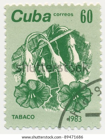 CUBA - CIRCA 1983: A stamp printed in Cuba shows a flowers and leaves of tobacco, series, circa 1983 - stock photo