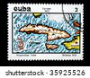 CUBA - CIRCA 1973: A stamp printed in Cuba shows a map of Cuba, one stamp from series devoted to ancient geographical maps, circa 1973. - stock photo