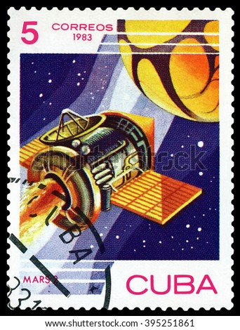 CUBA - CIRCA 1983: A stamp printed in Cuba shows automatic station Mars 2 ,  research  Mars , circa 1983