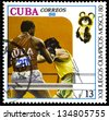 """CUBA - CIRCA 1980: A stamp printed in CUBA shows Boxing, with inscription and name of series """"XXII Olympic Games in Moscow, 1980"""", circa 1980 - stock photo"""