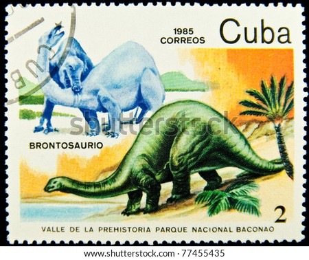 CUBA - CIRCA 1985: A stamp printed in Cuba shows Brontosaurus, series devoted to prehistoric animals, circa 1985 - stock photo