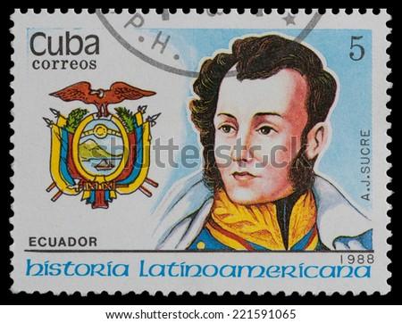 CUBA - CIRCA 1988: A stamp printed in Cuba, shows coat of arms portrait of A. J. SUCRE, Ecuador, circa 1988. - stock photo