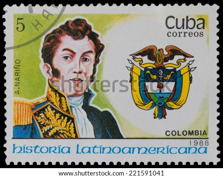 CUBA - CIRCA 1988: A stamp printed in Cuba, shows coat of arms portrait of A. Narino, Colombia, circa 1988. - stock photo