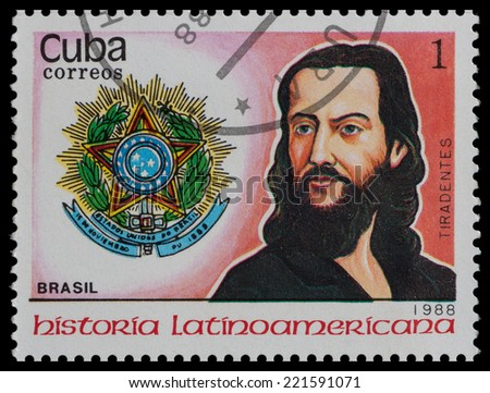 CUBA - CIRCA 1988: A stamp printed in Cuba, shows coat of arms portrait of TIRADENTES, Brazil, circa 1988.