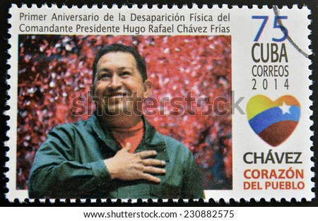 CUBA - CIRCA 2014: A stamp printed in Cuba shows Hugo Rafael Chavez (1954-2013), President of Venezuela, circa 2014  - stock photo