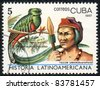 CUBA - CIRCA 1987: A Stamp printed in CUBA shows image of a   tecum uman, (Guatemala) and pharomachrus mocinno, from series Historia Latinoavericana, circa 1987 - stock photo
