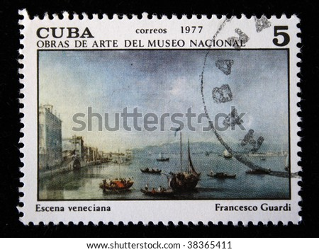 "CUBA - CIRCA 1977: A stamp printed in Cuba shows image of artist Francesco Guardi ""Scene Venece"", series, circa 1977"