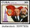 CUBA - CIRCA 1982: A stamp printed in Cuba shows Karl Marx and Vladimir Lenin, circa 1982 - stock photo