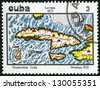 CUBA - CIRCA 1973: A stamp printed in Cuba shows Map of Cuba, 1572, by Abraham Ortelius, circa 1973 - stock photo