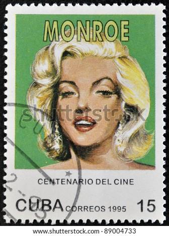 CUBA - CIRCA 1995: A stamp printed in Cuba shows Marilyn Monroe, circa 1995 - stock photo