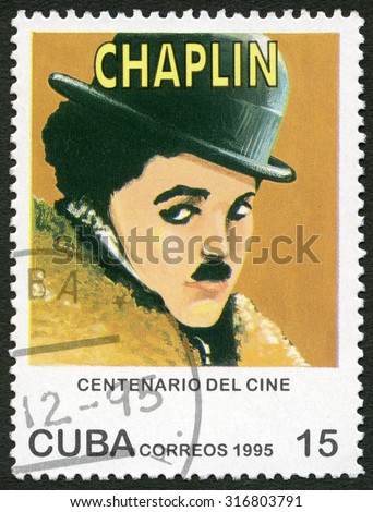 CUBA - CIRCA 1995: A stamp printed in Cuba shows Mario Fortino Charlie Chaplin (1889-1977), series Century Motion Pictures, circa 1995 - stock photo