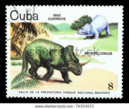 CUBA - CIRCA 1985: A stamp printed in Cuba shows Monoclonius, series devoted to prehistoric animals, circa 1985 - stock photo