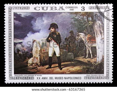 CUBA - CIRCA 1981: a stamp printed in Cuba shows Napoleon by Jean Horace Vernet, circa 1981. Isolated on black - stock photo