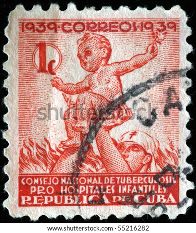 CUBA - CIRCA 1939: A stamp printed in Cuba shows nurse holds a baby, circa 1939