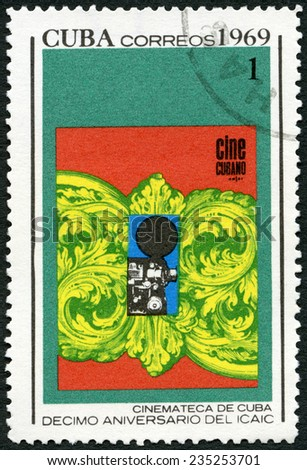 CUBA - CIRCA 1969: A stamp printed in Cuba shows Poster, devoted National Film Industry, 10th anniversary, circa 1969 - stock photo