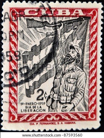 CUBA - CIRCA 1959: A stamp printed in cuba shows the day of the victory of Fidel and his guerrillas, circa 1959