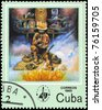"CUBA - CIRCA 1985: A Stamp printed in CUBA shows the Medicine man preparing calumet and other ritual items, from the series ""Indian activities"", circa 1985 - stock photo"