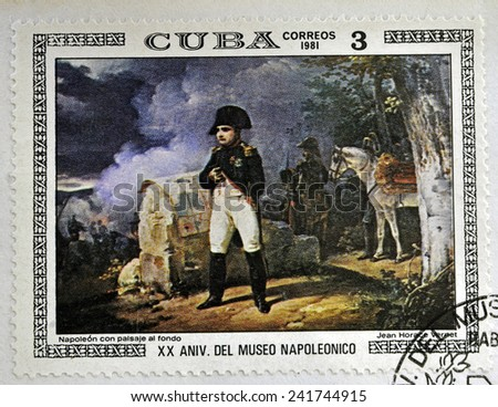 "CUBA - CIRCA 1981: A stamp printed in CUBA shows the ""Napoleon with Landscape in the Background"", by Jean Horace Vernet, from the series ""Paintings in the Napoleon Museum"", circa 1981"