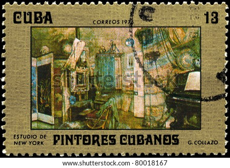 "CUBA - CIRCA 1976: A stamp printed in Cuba shows the ""New York Studio"", from the series ""Paintings by G. Collazo"", circa 1976"