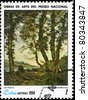 """CUBA - CIRCA 1980: A Stamp printed in CUBA shows the """"The Oak Trees"""", by Henry Joseph Harpignies, from the series """"Paintings in the Natl.Museum"""", circa 1980 - stock photo"""