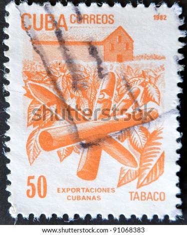 CUBA - CIRCA 1982: A stamp printed in Cuba shows the Tobacco, circa 1982 - stock photo