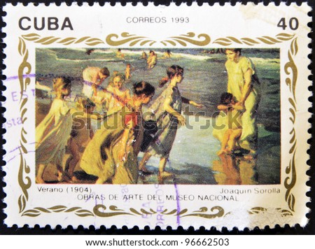 "CUBA - CIRCA 1993: A stamp printed in cuba shows the work ""summer (1904) by Joaquin Sorolla, circa 1993"