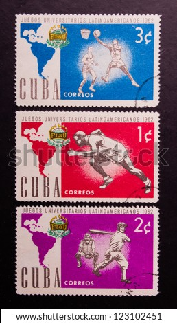 CUBA - CIRCA 1962: A stamp printed in Cuba shows three different kind of sports of latinoamericans circa 1962. - stock photo