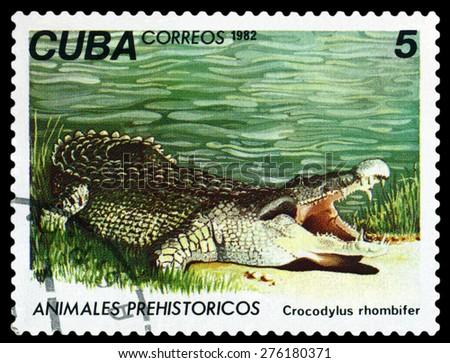 CUBA- CIRCA 1982: A stamp printed in , shows Geocapromus colombianus, Prehistoric Fauna, circa 1982 - stock photo