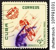 CUBA - CIRCA 1962: a stamp printed in the Cuba shows Bicycling, National Sports Institute Emblem and Athletes, circa 1962 - stock