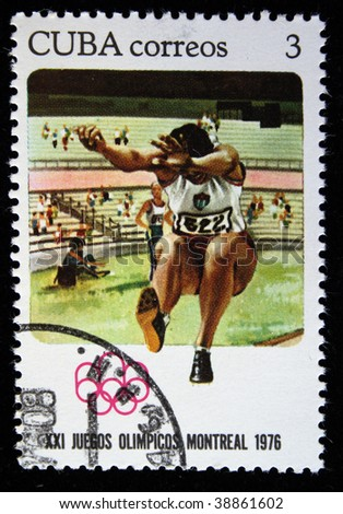 CUBA - CIRCA 1976: A stamp printed in the Cuba shows Broad jumps, circa 1976