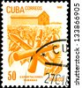 """CUBA - CIRCA 1982: a stamp printed in the Cuba shows Cuban export products: Tobacco, with inscription and name of series """"Cuban Export"""", circa 1982 - stock photo"""