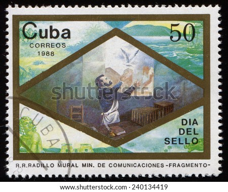 CUBA - CIRCA 1988: A stamp printed in the Cuba, shows fragment of a picture with Passenger pigeon, circa 1988  - stock photo