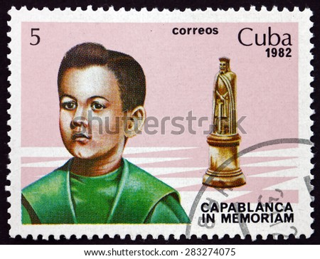 CUBA - CIRCA 1982: a stamp printed in the Cuba shows Jose Raul Capablanca and King, Cuban Chess Player, World Chess Champion from 1921 to 1927, circa 1982 - stock photo