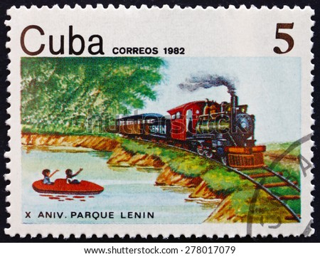 CUBA - CIRCA 1982: a stamp printed in the Cuba shows Lenin National Park, 10th Anniversary, circa 1982 - stock photo