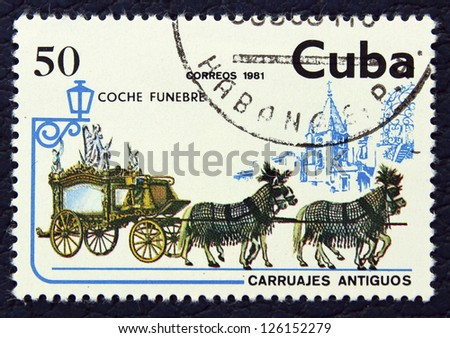 CUBA - CIRCA 1981: A stamp printed in the CUBA, shows old coach and four horses, circa 1981