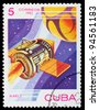 CUBA - CIRCA 1983: A stamp printed in the Cuba shows the rocket, circa 1983. Big space series - stock photo