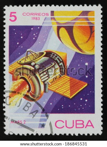 CUBA - CIRCA 1983: A stamp printed in the Cuba shows the rocket, circa 1983. Big space series