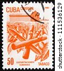 CUBA - CIRCA 1982: a stamp printed in the Cuba shows Tobacco, Cuban Export, circa 1982 - stock photo