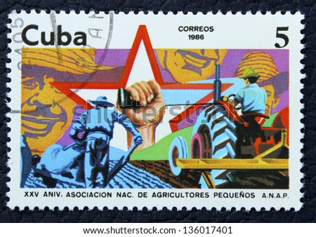 CUBA - CIRCA 1986: A stamp printed in the Cuba, shows ?  toiling in the fields of agricultural workers, circa 1986