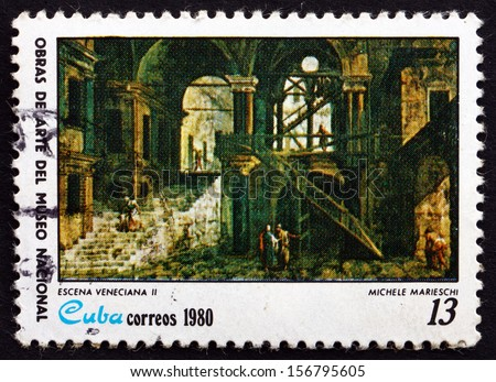 CUBA - CIRCA 1980: a stamp printed in the Cuba shows Venetial Scene II, Painting by Michele Marieschi, National Museum, circa 1980 - stock photo