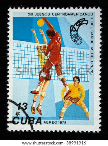 CUBA - CIRCA 1976: A stamp printed in the Cuba shows Volleyball, circa 1976.