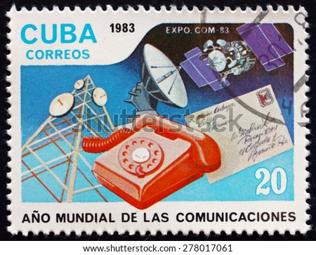 CUBA - CIRCA 1983: a stamp printed in the Cuba shows World Communications Year, circa 1983 - stock photo