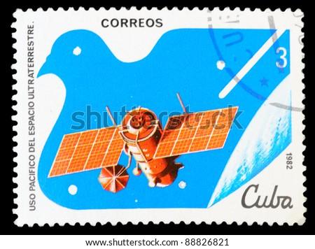 CUBA - CIRCA 1982: An airmail stamp printed in Cuba shows a space ship, series, circa 1982. - stock photo