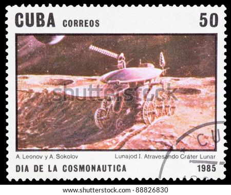 CUBA - CIRCA 1985: An airmail stamp printed in Cuba shows a space ship, series, circa 1985. - stock photo